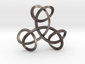 Triple Knot Pendant in Polished Bronzed Silver Steel