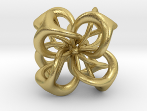 Flower in 4 Dimensions in Natural Brass