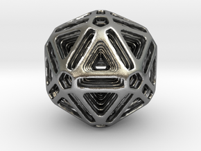 Nested Icosahedron for pendant in Natural Silver