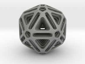Nested Icosahedron for pendant in Gray PA12