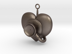 Stethoscope Pendant in Polished Bronzed-Silver Steel