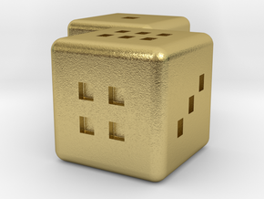 Dice couple in Natural Brass