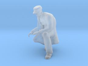 Man Kneeling: Long Coat & Cap in Smoothest Fine Detail Plastic: 1:64 - S