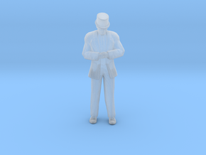 Man Standing Head Bowed Hands Clasped: Suit & Top  in Smoothest Fine Detail Plastic: 1:64 - S