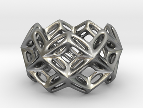 3D printed Silver Ring Lace Space Parametric Desig in Natural Silver