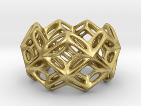 3D printed Silver Ring Lace Space Parametric Desig in Natural Brass