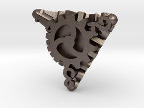 Clockwork Gears Dice in Polished Bronzed-Silver Steel: d4