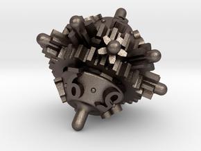 Clockwork Gears Dice in Polished Bronzed-Silver Steel: d10