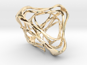 Twisted Tetrahedron in 14k Gold Plated Brass