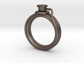 Stethoscope Ring in Polished Bronzed-Silver Steel: 4 / 46.5