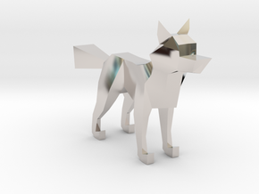 LOWPOLY FOX in Rhodium Plated Brass