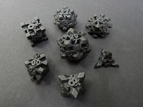 Intangle Dice Set with Decader in Polished and Bronzed Black Steel