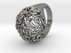 Brain Ring in Natural Silver