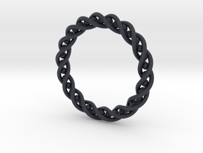 Twisted Single Strand Ring No.2 in Black Professional Plastic