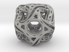 Ported looped drilled  cube pendant in Aluminum