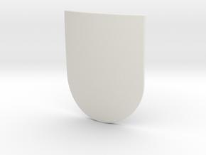 Spanish Shield (Plain) in White Natural Versatile Plastic: Small