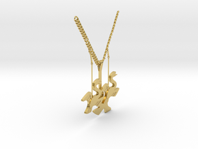 Swan necklace in Polished Brass: Medium