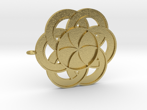 Crop circle Pendant 3 Flower of life  in Natural Brass