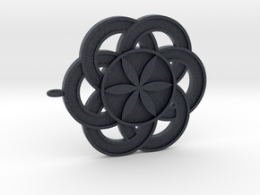 Crop circle Pendant 3 Flower of life  in Black PA12