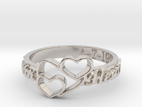 Anniversary Ring with Triple Heart - April 7, 1990 in Rhodium Plated Brass