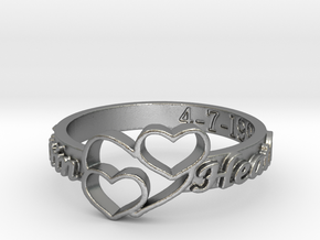 Anniversary Ring with Triple Heart - April 7, 1990 in Natural Silver