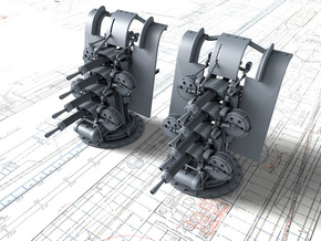 """1/144 Quad Vickers 0.50""""/62 (12.7 mm) MG MKIII x2 in Smoothest Fine Detail Plastic"""