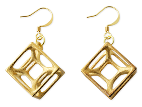Hypercube Earrings in Matte Gold Steel