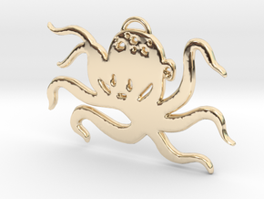 Octopus Pendant in 14k Gold Plated Brass