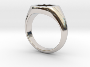 P O W E R Signet Ring - Small in Rhodium Plated Brass: 3 / 44