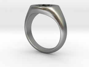 P O W E R Signet Ring - Small in Natural Silver: 3 / 44