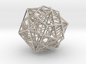"""Great Dodecahedron / Dodecahedron Compound 1.6"""" in Rhodium Plated Brass"""