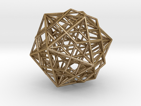 "Great Dodecahedron / Dodecahedron Compound 1.6"" in Polished Gold Steel"