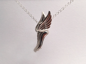Mercury Winged Track Shoe Pendant in Polished Silver