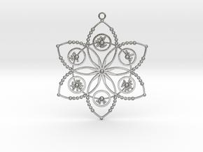 Crop circle pendant 2 (Plastic , Precious Metal ) in Natural Silver