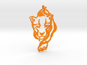 Crouching Tiger pendant in Orange Processed Versatile Plastic