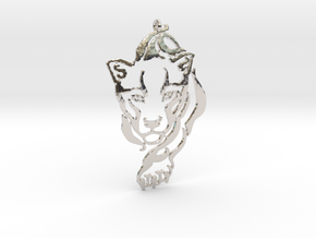 Crouching Tiger pendant in Rhodium Plated Brass
