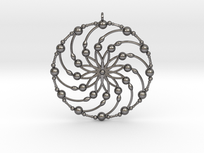 Crop circle  pendant 6 in Polished Nickel Steel