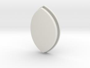 Lens Oval (Framed) in White Natural Versatile Plastic: Small