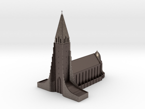 Neogothic cathedral Hallgrimskirkja in Polished Bronzed-Silver Steel: 1:500