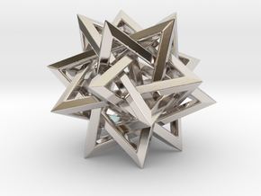 Five Tetrahedra in Rhodium Plated Brass: Small