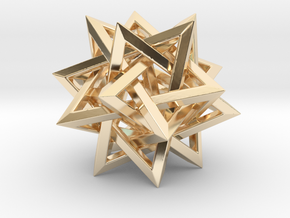 Five Tetrahedra in 14k Gold Plated Brass: Small