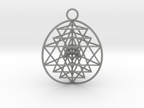 "3D Sri Yantra 3 Sided Optimal Pendant 1.5"" in Gray PA12"