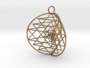 3D Sri Yantra 3 Sided Symmetrical in Polished Gold Steel