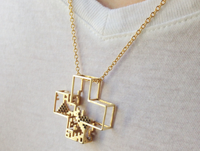 Pixel Pendant in Polished Brass