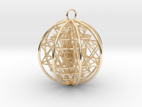 "3D Sri Yantra 8 Sided Optimal Pendant 2.2"" in 14K Yellow Gold"
