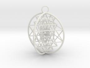 3D Sri Yantra 4 Sided Optimal in White Premium Versatile Plastic