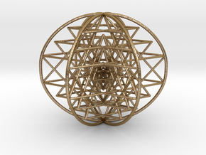 "3D Sri Yantra 6 Sided Symmetrical 3"" in Polished Gold Steel"