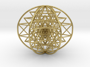 3D Sri Yantra 6 Sided Symmetrical Large in Natural Brass