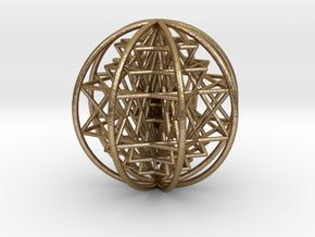 "3D Sri Yantra 8 Sided Optimal Large 3"" in Polished Gold Steel"