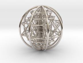"""3D Sri Yantra 8 Sided Optimal Large 3"""" in Rhodium Plated Brass"""
